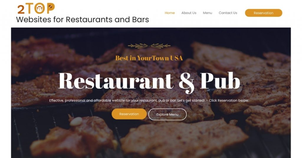 Featured Image - restaurant and bar website service page